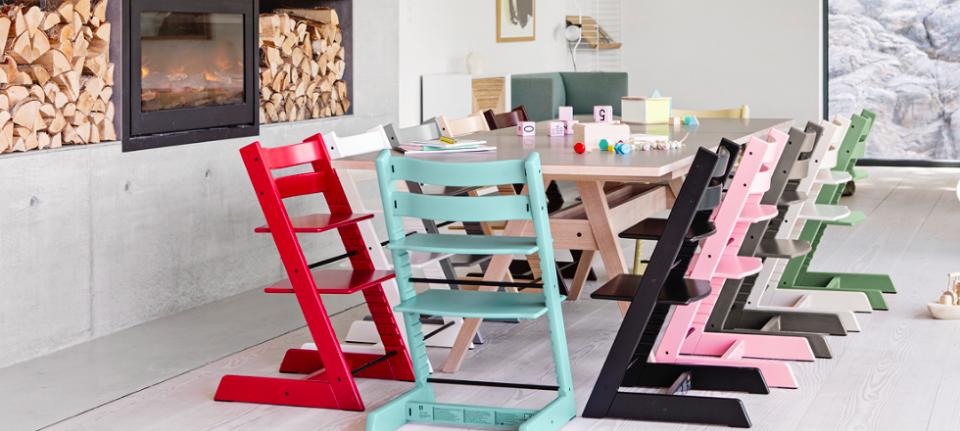 Stokke chair tripp trapp meegroeistoel wit zwart beuk groen rood roos paars